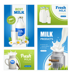 Fresh milk banners collection vector