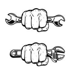 Human fist with wrench design element for poster vector