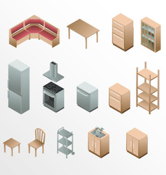 Isometric wooden furniture for kitchen vector image
