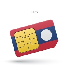 Laos mobile phone sim card with flag vector