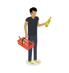 Man with cart purchases in flat design shop cart vector