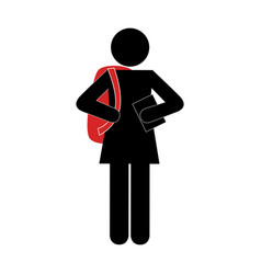 monochrome silhouette pictogram with student girl vector image