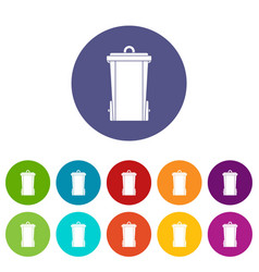 outdoor plastic trash can icons set flat vector image vector image