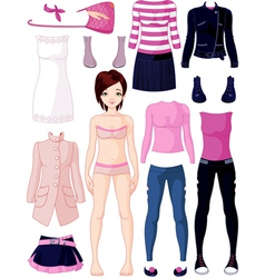 Paper doll with clothing vector image vector image