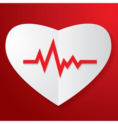 Paper Heart and Pulse vector image vector image