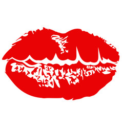 Red lipstick kiss vector