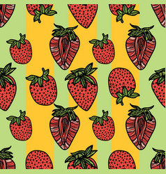 seamless pattern with strawberries vector image vector image