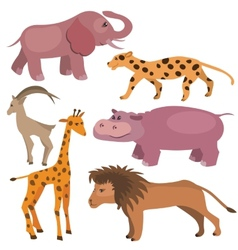Set with funny tropic animals vector image vector image