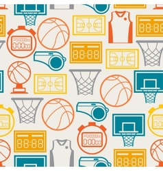 Sports seamless pattern with basketball icons in vector image vector image
