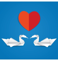 Swans and red heart vector image vector image