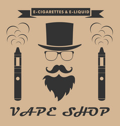 Vape shop logo hipster with electronic cigarette vector