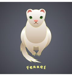 White ferret with green eyes vector