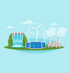 Wind mills and solar panels vector