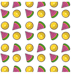 Wotermelon slice and lemon background design vector