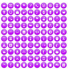 100 calendar icons set purple vector