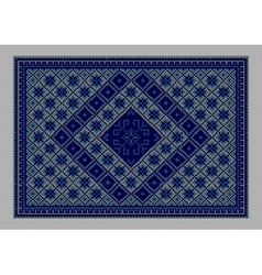 Carpet with ornament of blue shades vector
