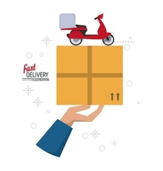 Motorcycle and package icon fast delivery design vector
