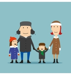 Happy family in winter wear are walking together vector