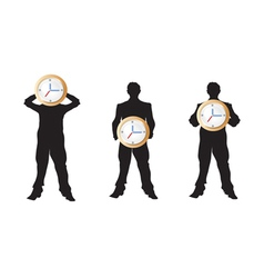 3 businessman holding the clock vector image