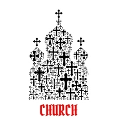 Church icon religion christianity cross symbols vector