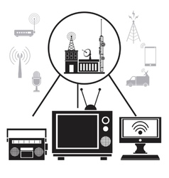 tv radio internet transmission signal vector image