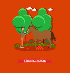 Feeding horse in flat style vector