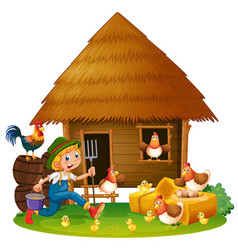 Chickens and farmer at home vector