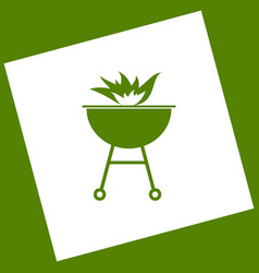 Barbecue with fire sign  white icon vector