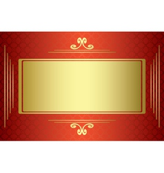 Red and gold card with gold frame vector