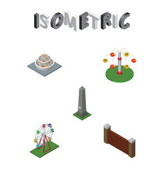 Isometric street set of recreation swing vector