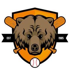 bear head baseball mascot vector image