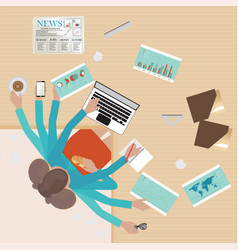 Busy businesswoman working hard on his desk vector