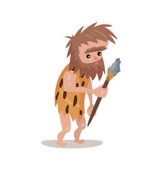 caveman in an animal skin holding a spear stone vector image