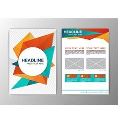 Abstract orange and blue triangle design brochure vector