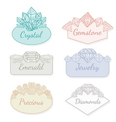 Frame Collection with Gems and Crystals vector image