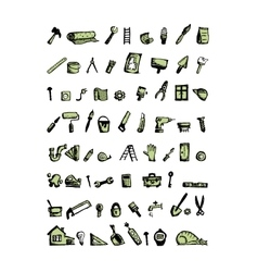 Repair home icons sketch for your design vector