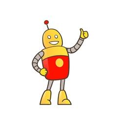 Robot with thumbs up vector