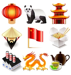 China icons set vector