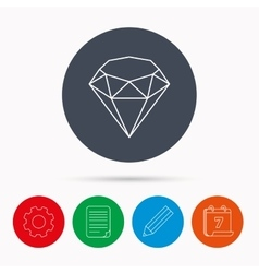 Brilliant icon diamond gemstone sign vector