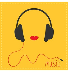 Headphones with cord red lips music card flat vector