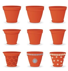 collection of empty flowerpots for your design vector image