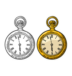 Antique pocket watch vintage engraved on vector