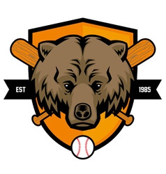 bear head baseball mascot vector image