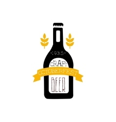 Beer Logo Design Template With Bottle Silhouette vector image