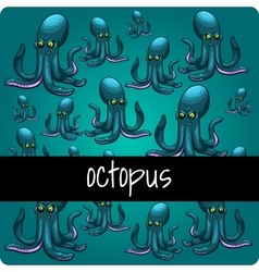 Big collection octopuses on a green background vector