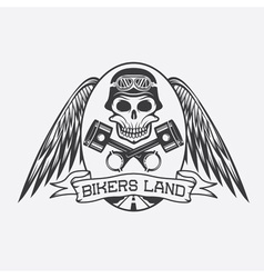 Bikers land crest with skullwings and pistons vector