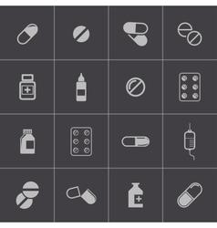 black pills icon set vector image