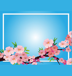 border template with pink blossom flowers vector image vector image