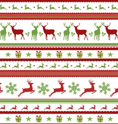 Christmas pattern with retro deer decoration vector image