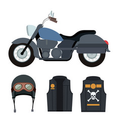 Classic blue motorcycle with jacket and helmet vector